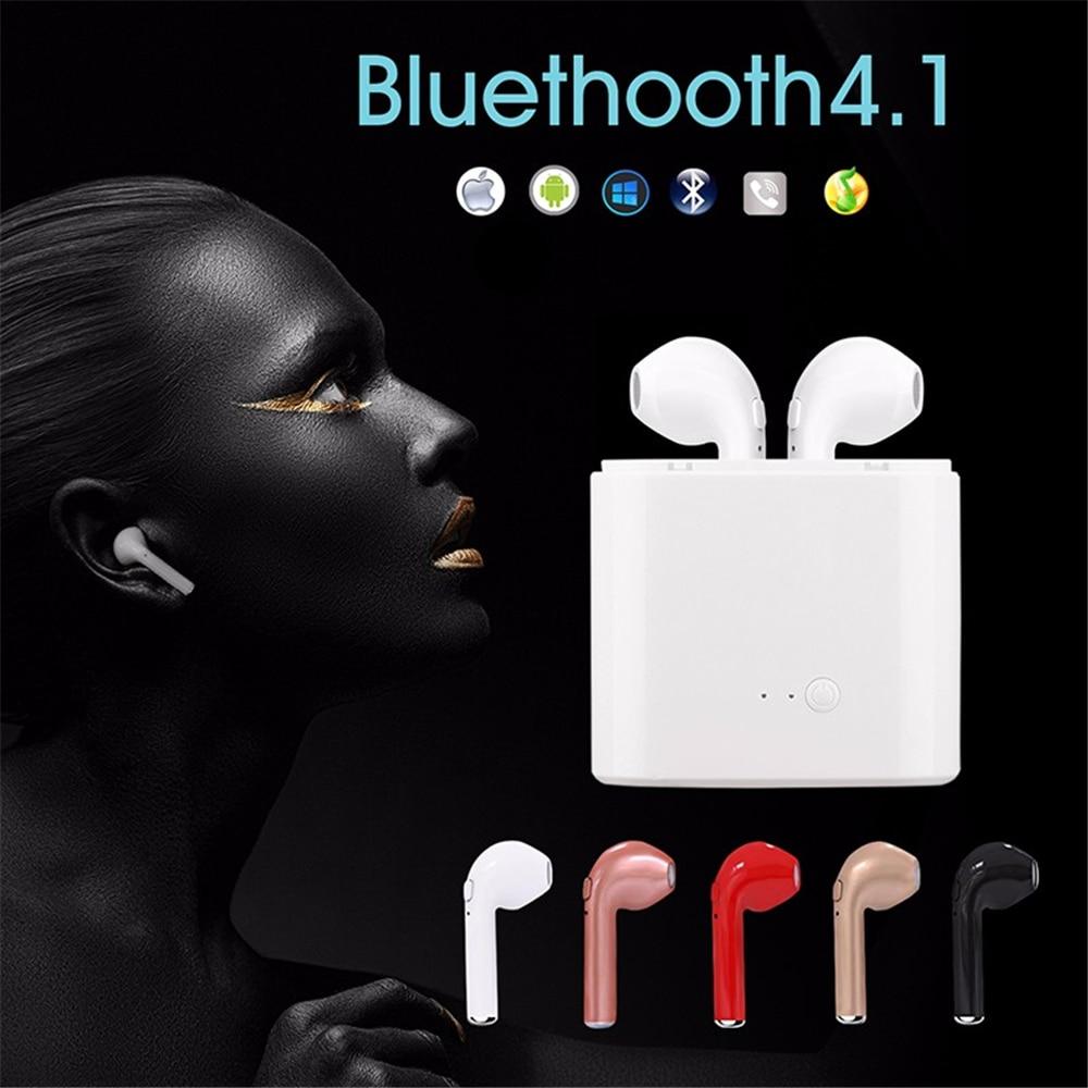 Pewant i7S TWS True Wireless Bluetooth Earphone Headset Mini Stereo Sports Earbuds With Mic Charging Box For Huawei PK HBQ i7