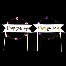 Cake Toppers Happy Birthday Wreath Garland Love Cake Topper Cupake Flags Wedding Baby Shower DIY Decor Supplies Kids Party 1set plush ball garland happy birthday cake topper for kids birthday party baby shower cake decoration flags party supplies