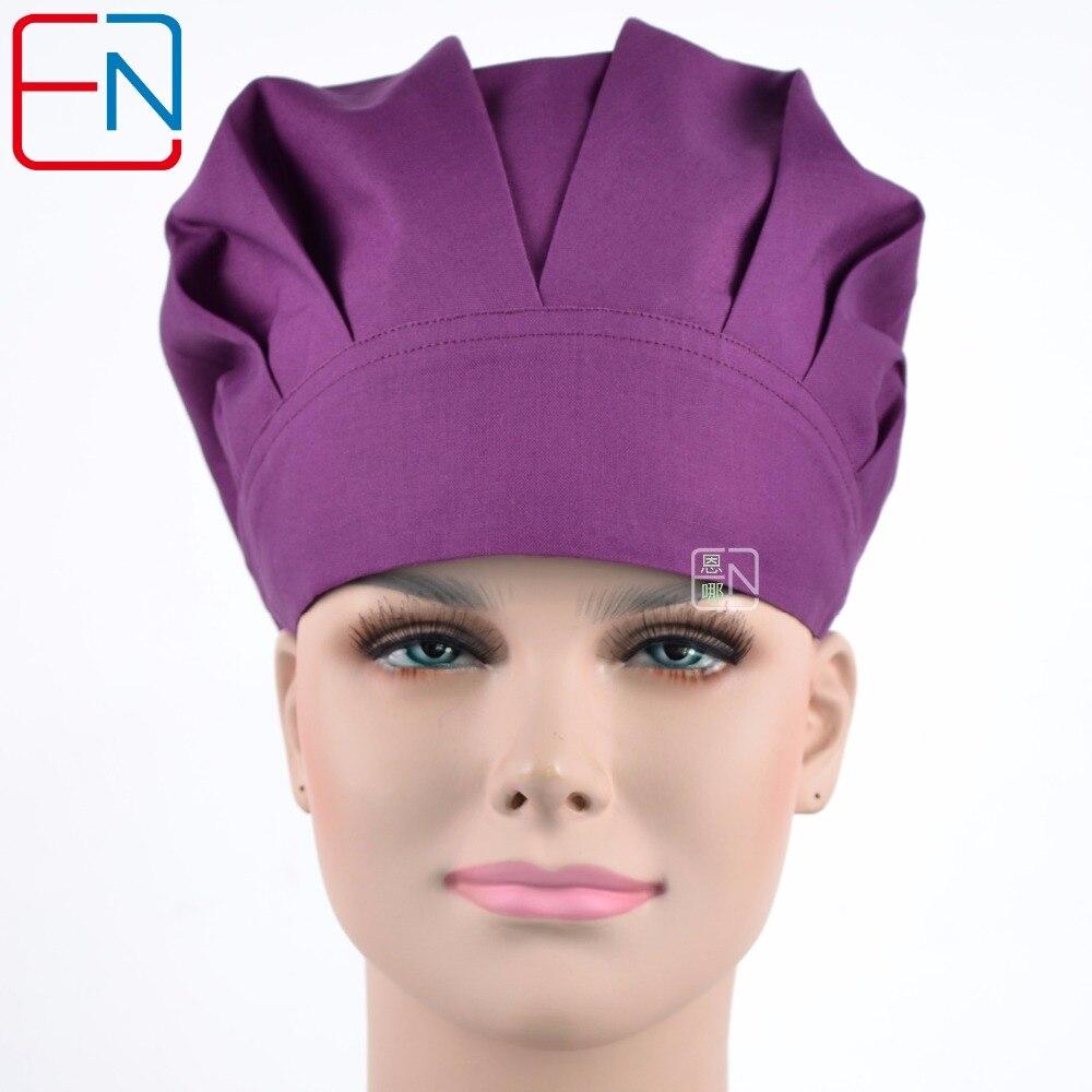 Hennar Scrubs Caps Hot Sale 100% Cotton Bouffant Caps Hospital Doctors Nurses Pure Purple Printied Medical Surgical Scrub Caps