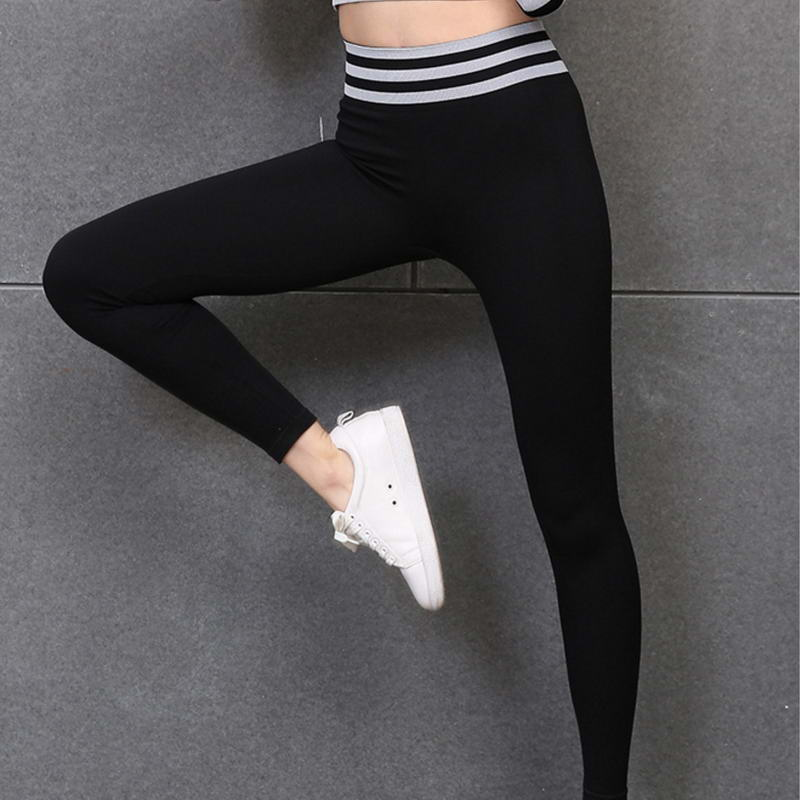2019 Explosion Workout Fitness Yoga Pants Athletic Stretch High Waist Women Striped Spliced Gym Wear Leggings in Yoga Pants from Sports Entertainment