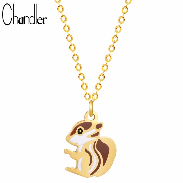 Chandler cute squirrel pendant necklace tiny small charm stainless chandler cute squirrel pendant necklace tiny small charm stainless steel animal charms chain clavicle coller sale aloadofball Gallery