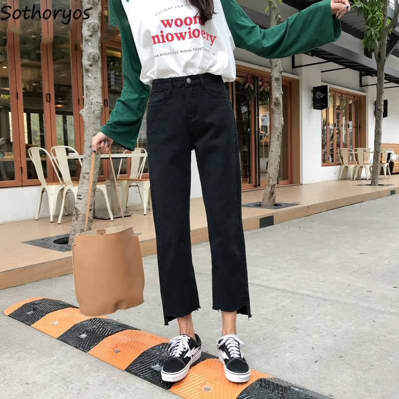Jeans Denim Women Solid Zipper Pockets Loose Trendy Harajuku Straight Womens Trousers High Waist All-match Korean Style Students