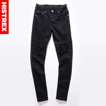 b9bf7b72d8 HISTREX Hip Hop Light Khaki Jeans Ripped Men Moto mens Fashion Distressed  Skinny Denim Biker Jean