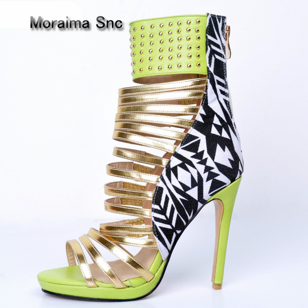 Moraima Snc 2018 Summer Open Toe Cutouts Gladiator Shoes Rivets Studded Thin heels Lady pumps heels Hot Selling Sandal for Woman hot selling black leather sandal high heel summer open toe chains decorations gladiator sandal woman cutouts thin heels shoes