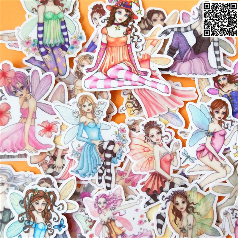 32 Pcs Beautiful Girl  Paper Sticker For Luggage Skateboard Phone Laptop Moto Bicycle/Eason Stickers/DIY Scrapbooking