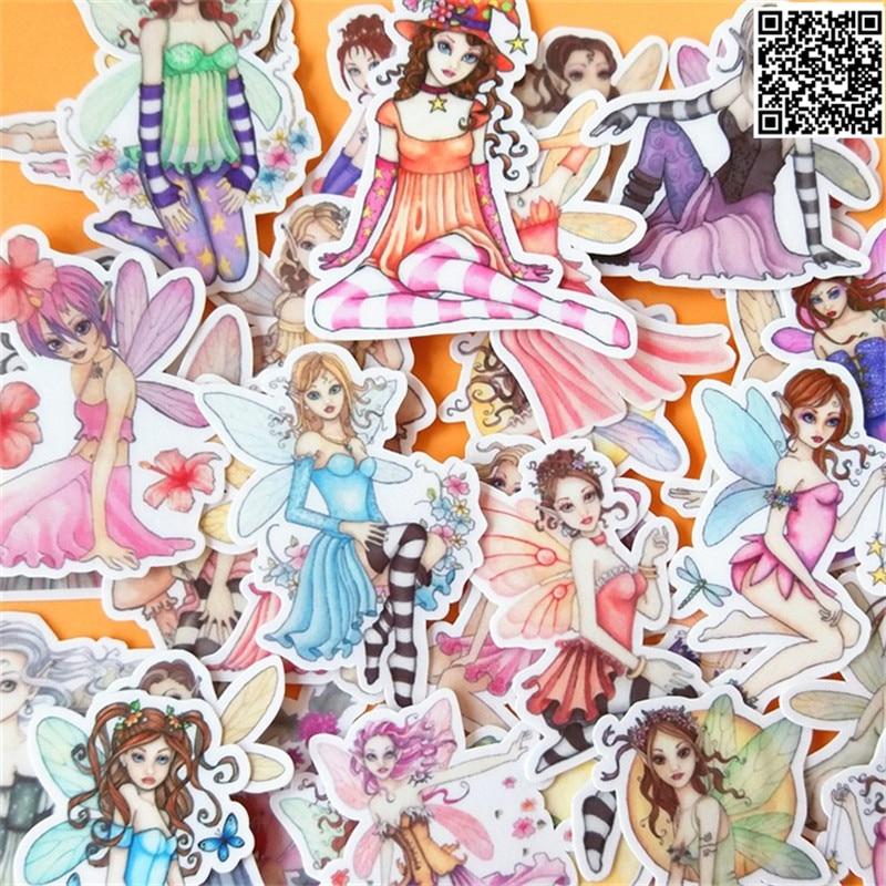 32 Pcs Beautiful Girl  Paper Sticker For Luggage Skateboard Phone Laptop Moto Bicycle/Eason Stickers/DIY Scrapbooking