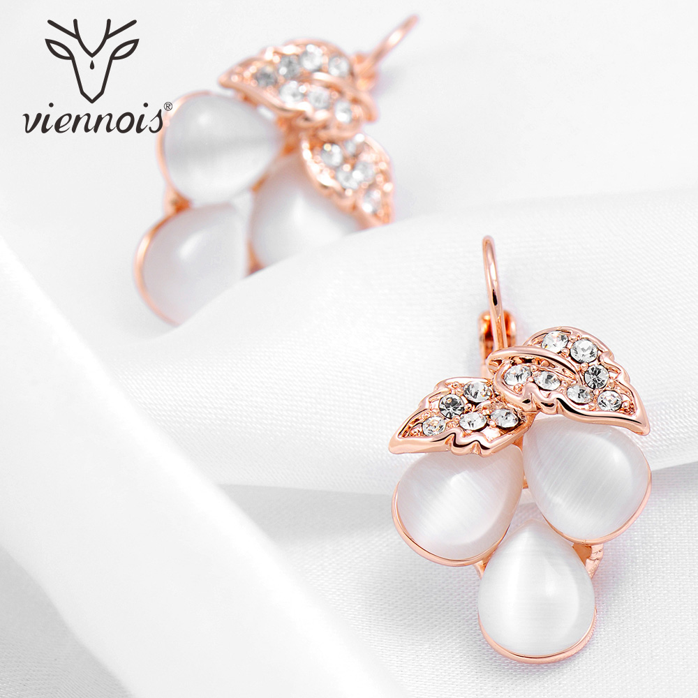 Viennois Dangle Earrings Rose Gold Color Grape Shape Women Opal Stone Female Drop Earring Fashion Jewelry gold plated stone asymmetry dangle earrings