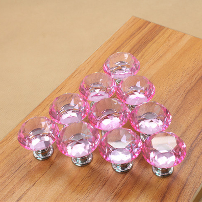 5PCS Pink Crystal Glass Diamond Door Handles 30mm Kitchen Cabinet Cupboard Drawer Pulls Wardrobe Knobs Hardware Accessories5PCS Pink Crystal Glass Diamond Door Handles 30mm Kitchen Cabinet Cupboard Drawer Pulls Wardrobe Knobs Hardware Accessories
