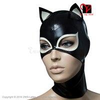 Sexy Látex Capuzes gato orelhas de gato Máscaras De Borracha Gummi abrir a boca grande buracos Chapelaria plus size TT-214
