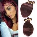 Prêmio Da Malásia Virgin Cabelo Humano Em Linha Reta 3 Pcs Vinho Tinto cabelo Tecer 99J Borgonha Feixes de Cabelo Malaio Virgem Para Preto menina