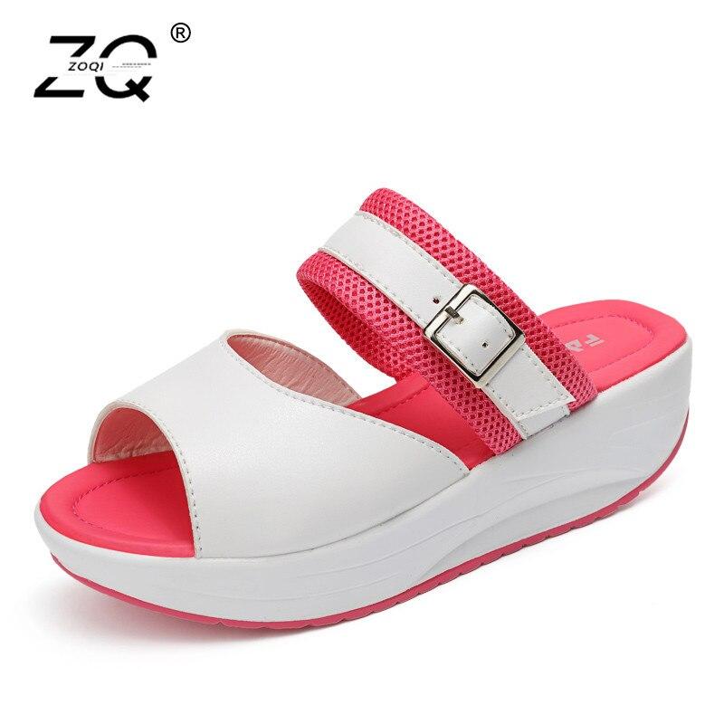 ZOQI New Fashion Beach Slippers Women Shoes 2018 Wedges Shoes Women Slippers Trend Summer Sliders Shoes Zapatos Mujer Size 35-40