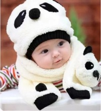 Autumn and winter baby boy warm hat Baby cartoon children wool scarf two-piece