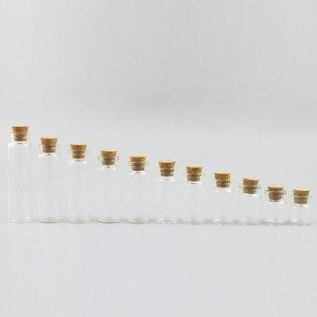 50 X Wish Bottles Tiny Small Empty Clear Cork Glass Vials For Wedding Holiday  4ml 5ml 6ml 7ml 8ml 10ml 12ml 15ml 20ml