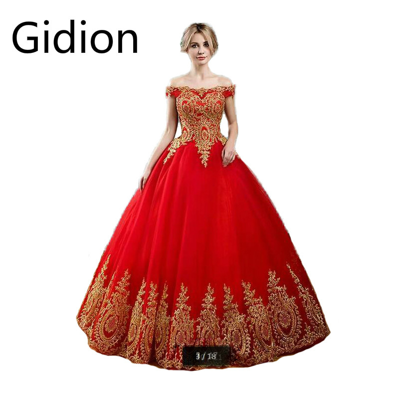 Free shipping ball gown red gold lace appliques wedding dress off the shoulder princess puffy sexy bride gowns Vestido De Novia