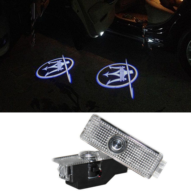 Maserati LOGO Car LED Emblem Welcome Light Door Step Ground Projecting Lamp For Quattroporte Ghibli GranTurismo GranCabrio