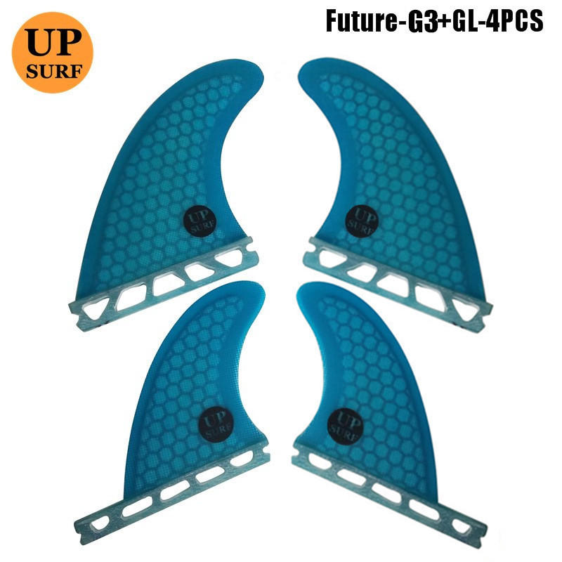 Future fin G3 GL Blue Orange quad fin free shipping quad fin set Quilhas fiberglass honeycomb