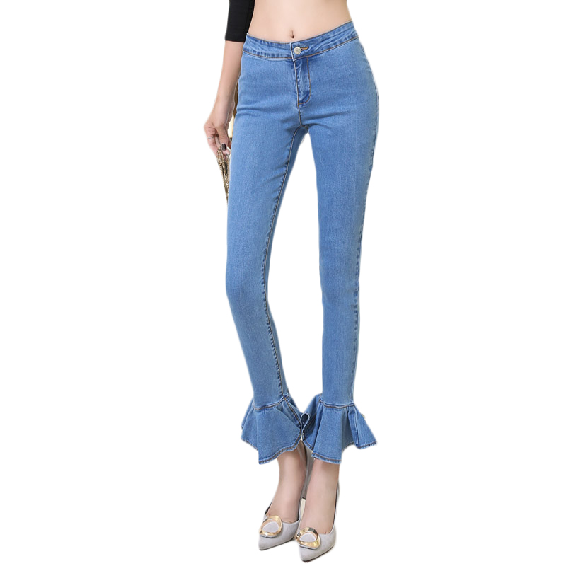 ФОТО new arrived autumn winter jeans woman Slim Fashion Casual denim pants Lotus leaf leg opening Low waist  all-matching  trousers
