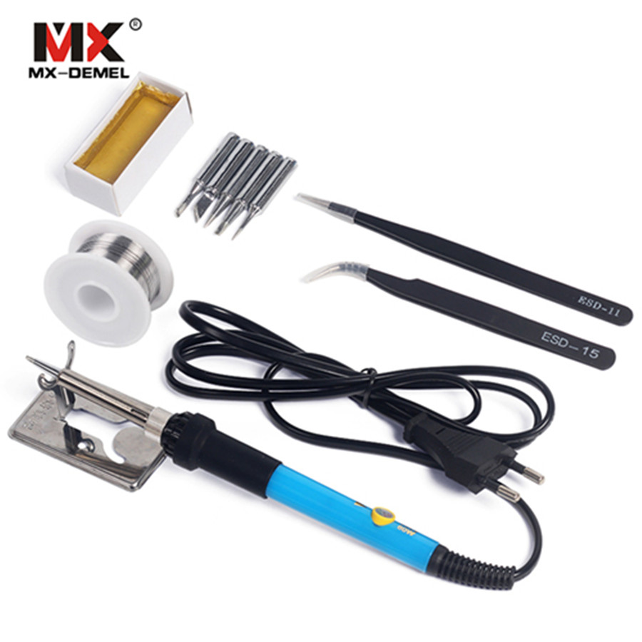 110V 220V 60W Adjustable Temperature Electric Soldering Iron Kit+5pcs Tips Portable Welding Repair Tool Set Tweezers Solder Wire