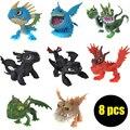 8 Unids/set Cómo Entrenar A Tu Dragón Desdentado Dragón Desdentado Furia Nocturna Modelo Figuras de Acción Juguetes Clásicos Juguetes de Los Niños