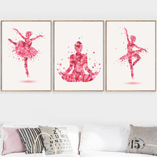 Ballet Dancer Yoga Petal Nordic Posters And Prints Wall Art Canvas Painting Wall Pictures For Living Room Girl Bedroom Decor цены