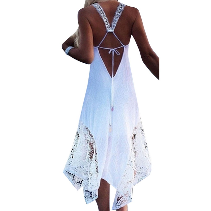 LAAMEI Sexy Backless Dress Women Club Party Sundress White Lace Elegant Lady Long Dress Summer Beach Boho Dress Plus Size 5XL