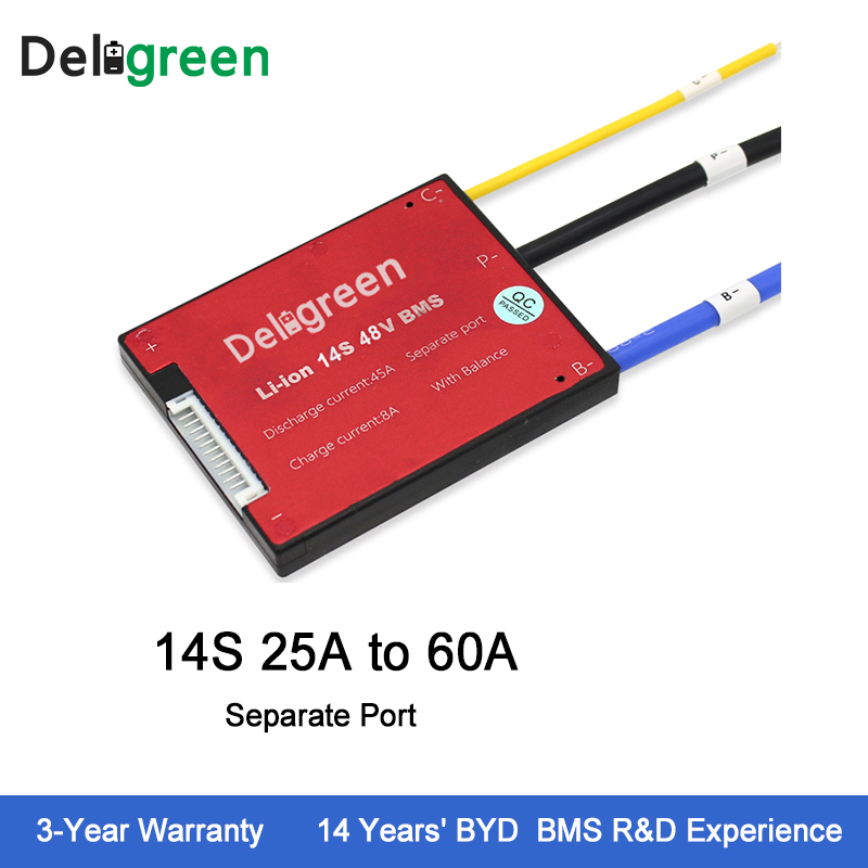 цена на Deligreen 14S 25A35A45A60A 48V PCM/PCB/BMS for 3.7V lithium battery pack 18650 Lithion LiNCM Li-Polymer Scooter