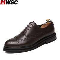 MWSC New Arrival Male Fashion Casual Shoes British Style Man Oxfords Business Brogue Vintage Leisure Shoes