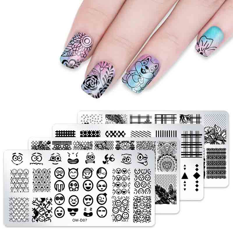 1 pcs Flower Rectangle Nail Stamping Template Flower Animal Geometry Love Valentine 39 s Day Nail Art Stamping Plate Polish Tool in Nail Art Templates from Beauty amp Health