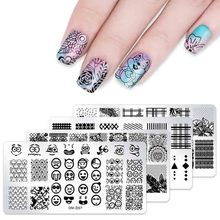 1 pcs Flower Rectangle Nail Stamping Template Animal Geometry Love Valentines Day Art Plate Polish Tool
