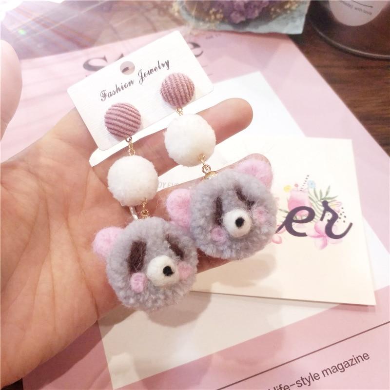 YueBanG новые ювелирные изделия серьги для Для женщин милый плюшевый мишка серьги хлопка уха дату свадьбы аксессуары серьги