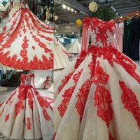 2018 New Luxury Islamic Evening Dress Real Photo Tiered Skirt High Grade Lace Pearl Beaded Red Photography Ball Gown