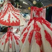 2018 Nouveau Luxe Islamique Robe de Soirée Réel Photo Jupe À Volants Haute Qualité Dentelle Perle Perlée Rouge Photographie robe de Bal