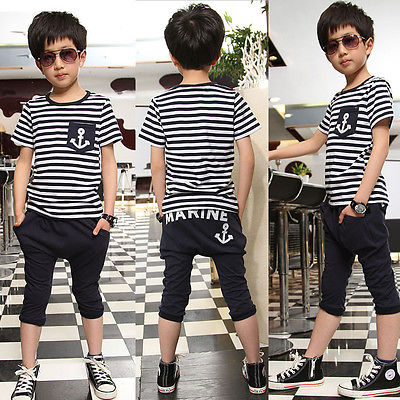 2015 Kids Boys Short Sleeve Navy Striped Tops Marine Half Pant 2Pcs Set Clothes 2pcs children outfit clothes kids baby girl off shoulder cotton ruffled sleeve tops striped t shirt blue denim jeans sunsuit set