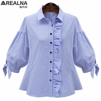 AREALNA Autumn Vintage Fashion Ruffle Blouse Femme Blue Lantern Sleeve Plaid Shirt Women Tops Camisas Mujer