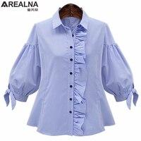 AREALNA Autumn Vintage Fashion Ruffle Blouse Femme Blue Lantern Sleeve Plaid Shirt Women Tops Camisas Mujer