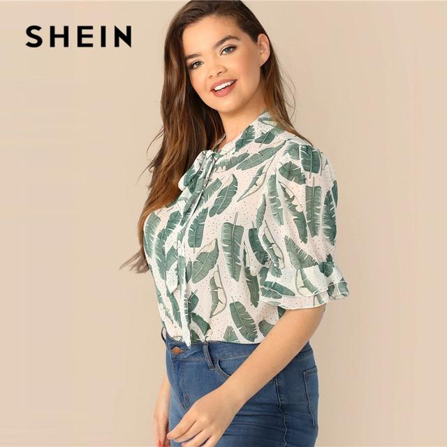 SHEIN Plus Size Multicolor Tie Neck Ruffle Trim Tropical Print Top Blouse 2019 Women Summer Boho Stand Collar Half Sleeve Blouse 1