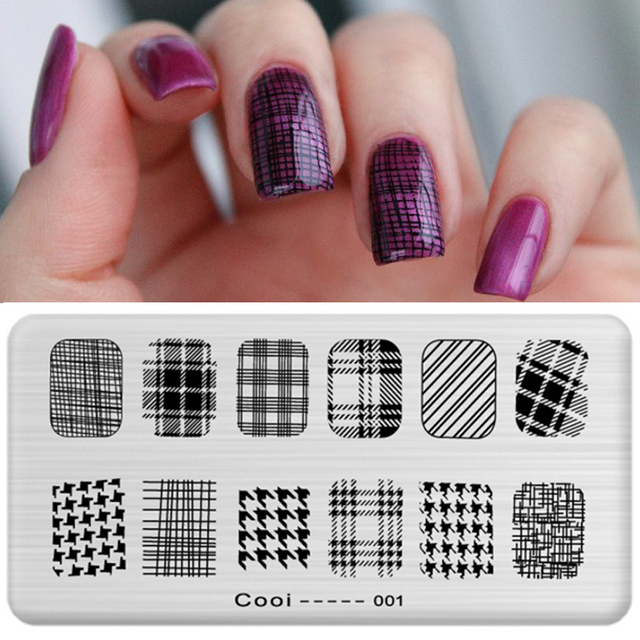 Black White Stripe Nail Stamping Plates Stamp Template Image Plate ...