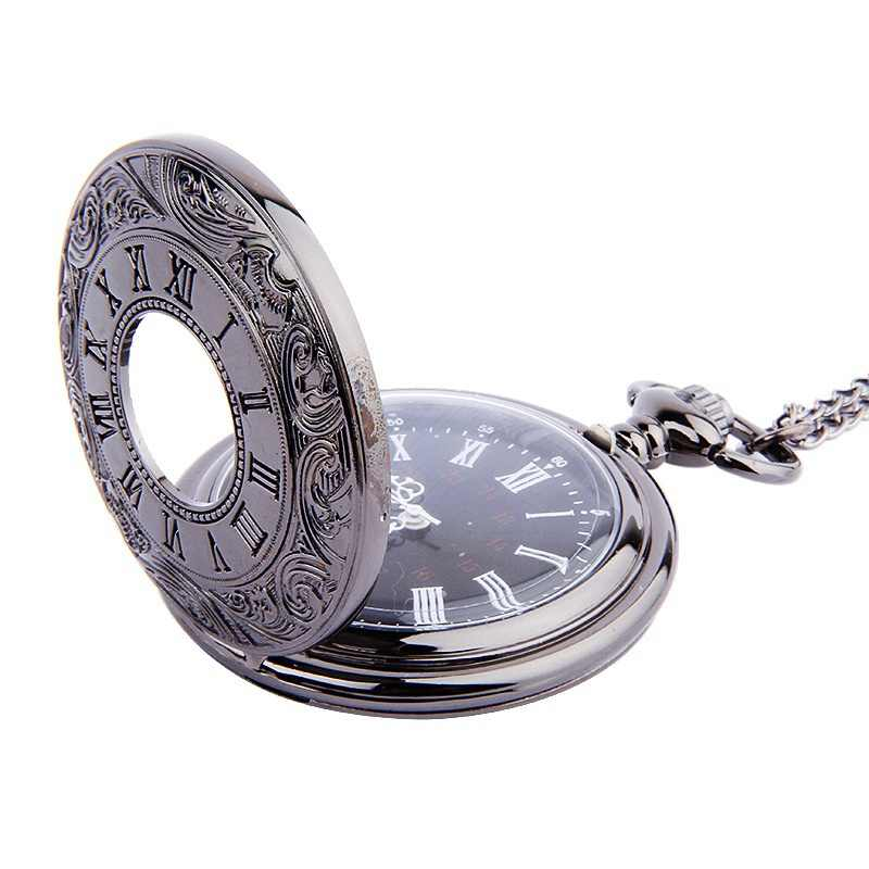Vintage Charm Black Watches Unisex Fashion Roman Number Quartz Steampunk Pocket Watch Women Man Necklace Pendant Chain Gifts