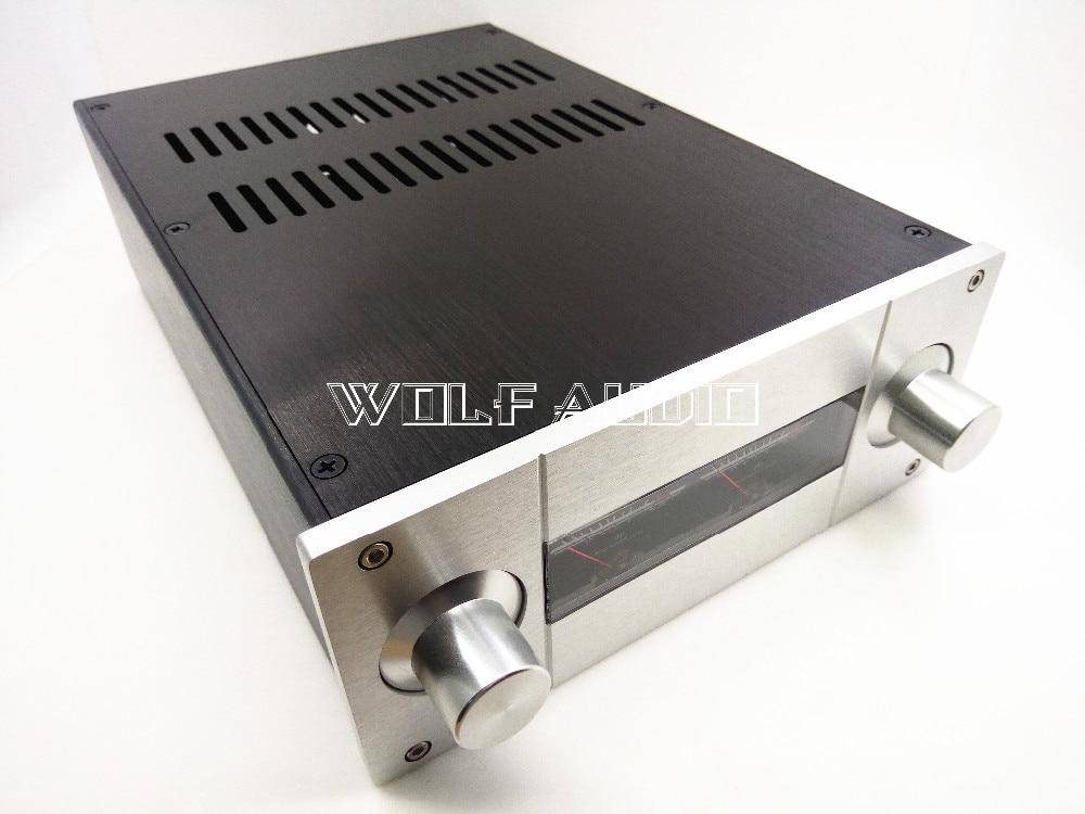 цена на DIY JC229E Full Aluminum Amplifier Chassis Preamp Case/ Tube amp Enclosure/ VU Meter Box 220*90*311mm
