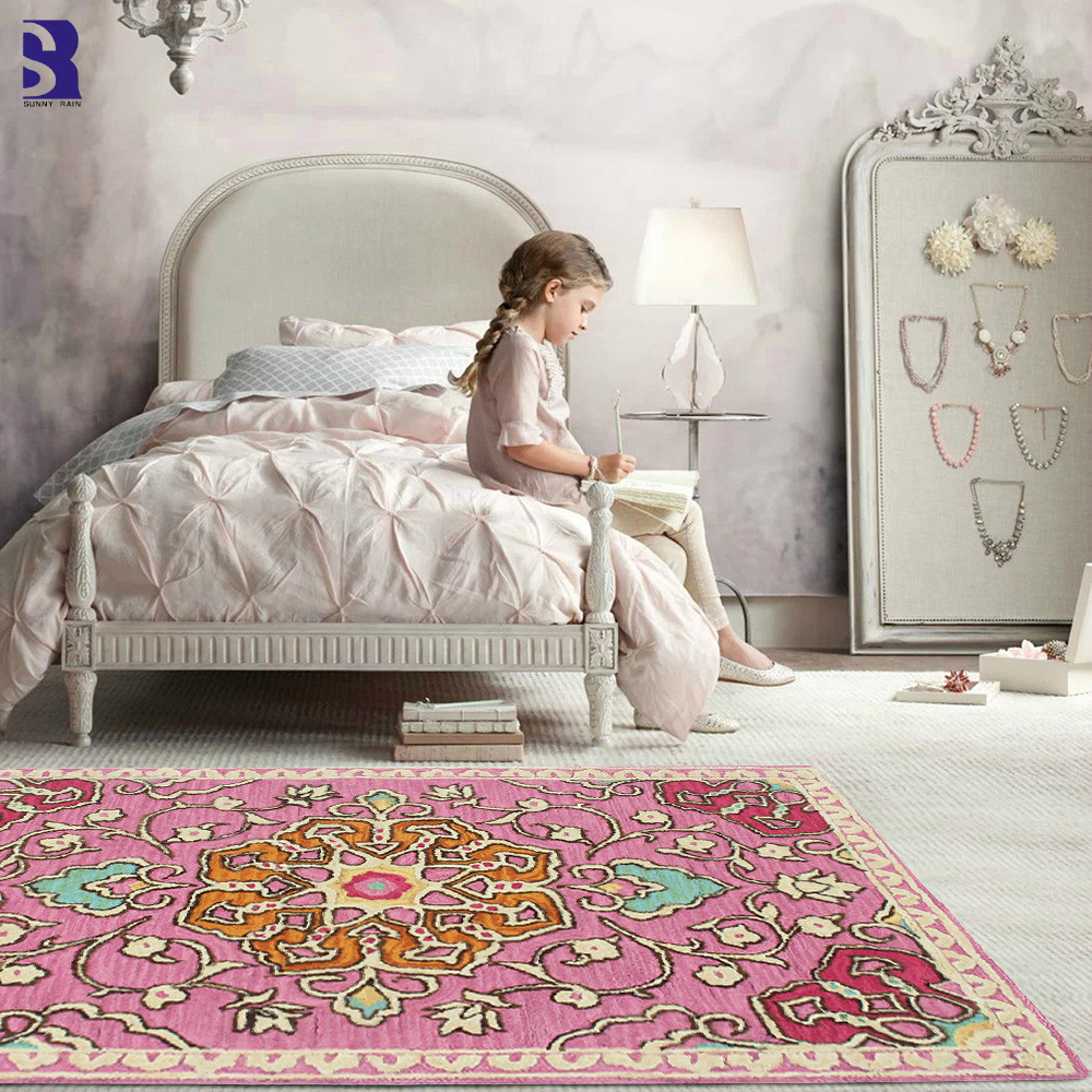 US $10.53 29% OFF|SunnyRain 1 piece Short Plush Pinted Carpet Pink Rug For  Living Room Area Rugs For Girl Bedroom Slipping Resistance-in Rug from Home  ...