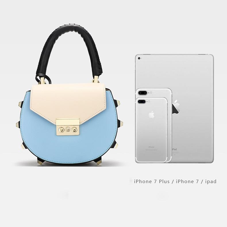 Women Shoulder Bags Cowskin Totes Luxury Designer Rivet Handbags  Chains Crossbody Bag For Ladies