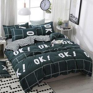 Image 5 - FUNBAKY 3/4 teile/satz Einfache Stil Streifen Tröster Bettwäsche sets Baumwolle Bettbezug set Bett Leinen Auskleidungen Keine Füllstoff home Textil