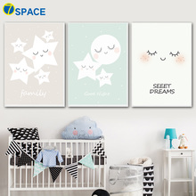Cartoon Moon Star Wall Art Posters And Prints Canvas Painting Nordic Poster Pop Pictures Kids Room Baby Home Decor