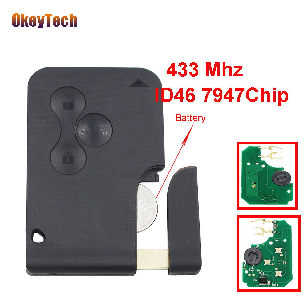 OkeyTech Smart Remote Key Card 433MHz PCF7947 ID46 Chip for Renault Megane Scenic Auto Key Fob Case 3 Button Insert Small Blade