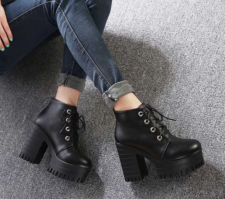 Women Shoelaces Martin Boots Black Leather Ankle Booties Chunky High-Heeled Thick Bottom Waterproof Punk Boots Short Spring short boots woman the fall of 2017 a new restoring ancient ways british wind thick boots bottom students with martin boots