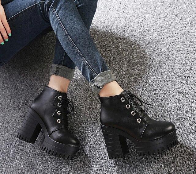 c22c959c Botas Martin con cordones para mujer, botines de tobillo de cuero negro,  botas gruesas