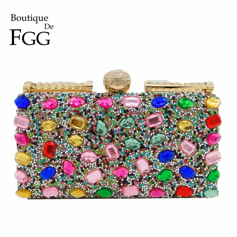 Gold Plated Frame Multi Crystal Women Fashion Handbags and Purses Bridal Evening Wedding Party Clutch Chain Shoulder Hand Bag 2018 women satin rhinestone evening clutch bags ladies day fashion purses chain handbags bridal wedding party bolsas mujer 2t