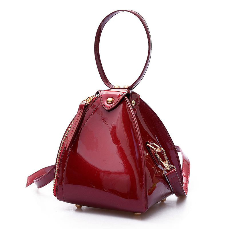 high quality free shipping Fashion Girl Triangle Shape Clutch Women Evening Bag Patent Leather Wristlet Purses Small Handbags high quality women s handbags fashion manual violin bag women purses unilateral oblique bag support drop shipping