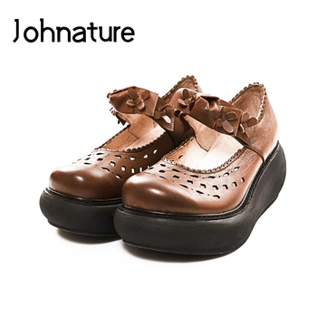 Johnature 2020 New Summer Genuine Leather Casual Retro Elastic Band Shallow Floral Cover Heel Wedges Sandals Women Shoes