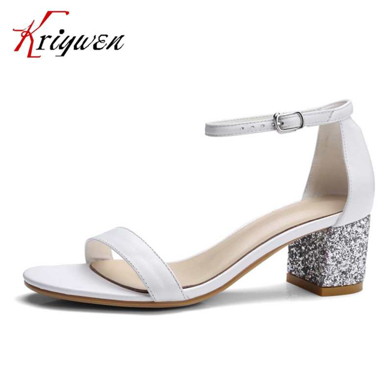 2017 Summer new shoes buckle strap genuine leather women sandals elegant work lady shoes high heels ankle strap female sandals brand new sale fashion low fretwork heels rhinestone women party shoes elegant sweet ankle buckle strap lady top quality sandals